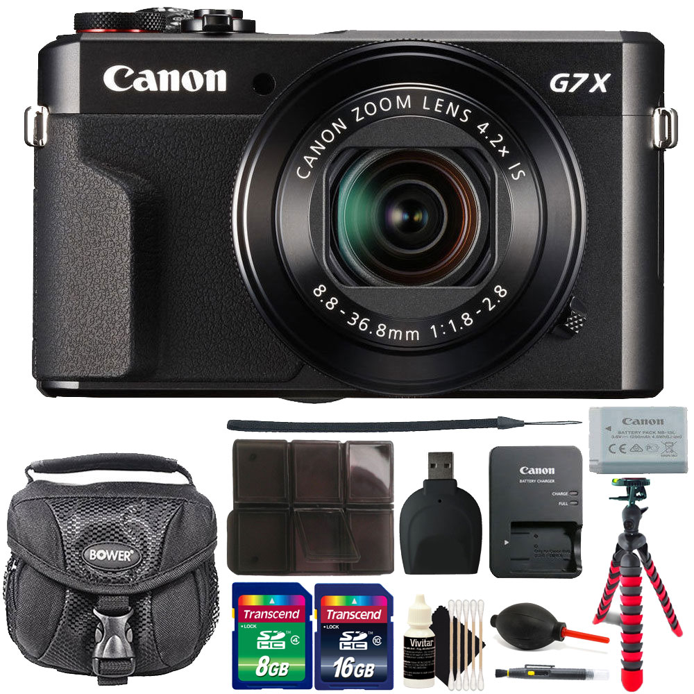 Canon G7X Mark II PowerShot 20.1MP BLACK Digital Camera with 24GB Accessory Kit Black