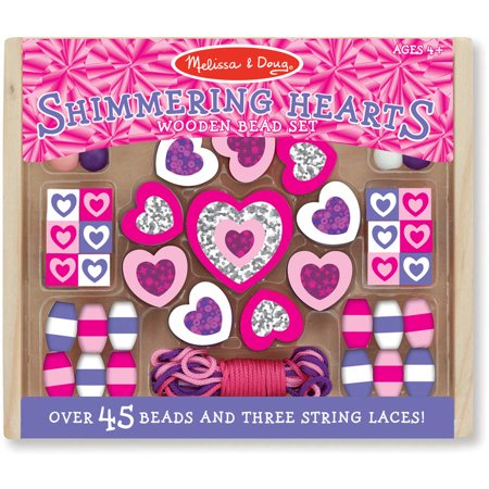 Fashion Jewelry Coco Beads - Melissa & Doug Shimmering Hearts Wooden Bead Set: 45 Beads and 3 Laces for Jewelry-Making