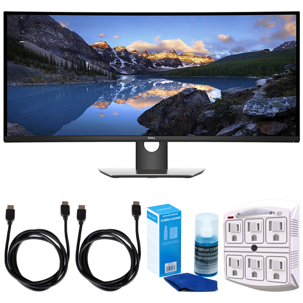 "Dell (U3818DW) UltraSharp 38"" Curved UltraWide Monitor (2017 Model) w/ Accessories Bundle Includes, 2x 6ft. HDMI Cable, SurgePro 6-Outlet Surge Adapter with Night Light & Screen Cleaner For LED TVs"