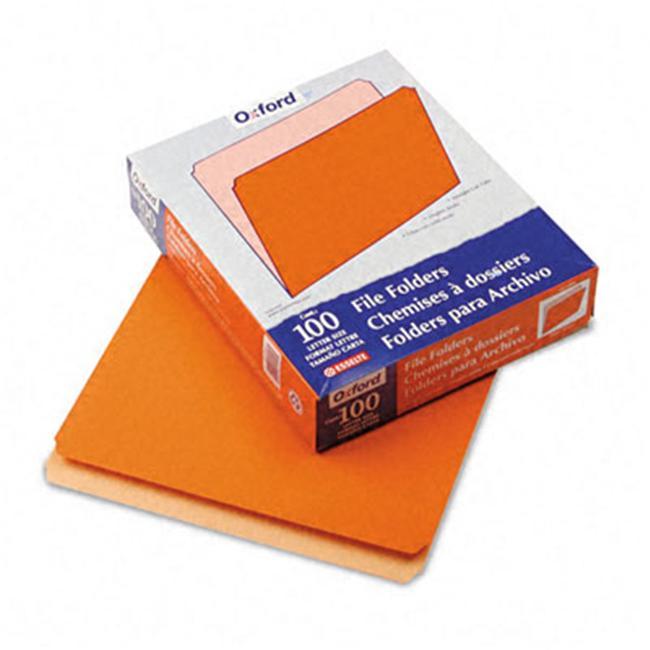 Pendaflex 152-ORA Two-Tone File Folders- Straight Top Tab- Letter- Orange/Light Orange- 100/Box