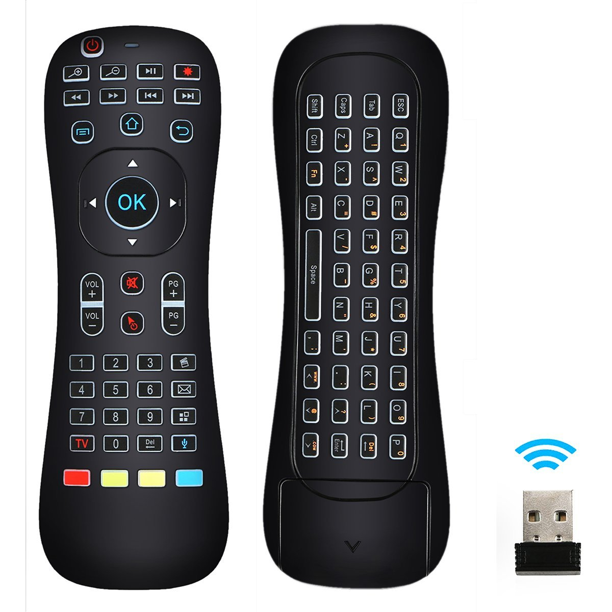 TSV 2.4G Wireless Mini Air Fly Mouse Keyboard Infrared TV Remote Control Backlit C7U6 For TVBOX