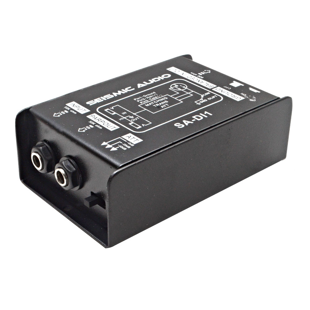 Seismic Audio Passive Direct Box w/ Ground Left-Attenuator Switch  DI Black - SA-DI1