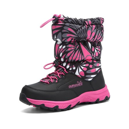 Snow Boots for Girls Fluff Lined Outdoor Lightweight Comfortable Winter Warm Shoes