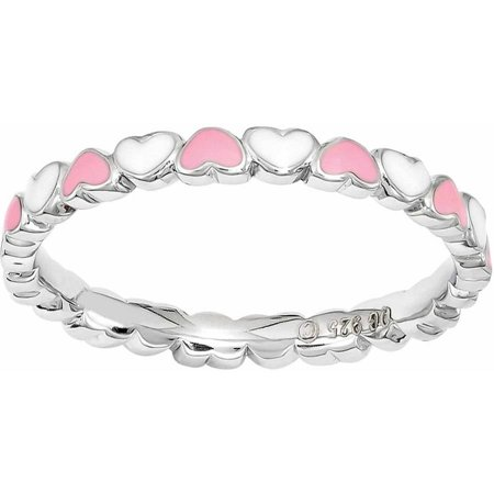 Hearts Stackable (Sterling Silver Stackable Expressions Pink & White Enamel Heart)