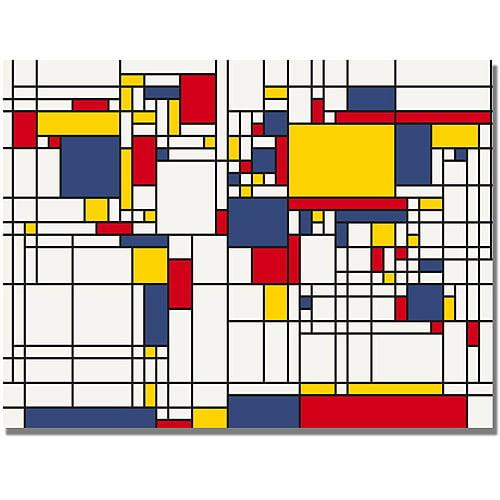 """Trademark Art """"Mondrian World Map"""" Canvas Art by Michael Tompsett"""