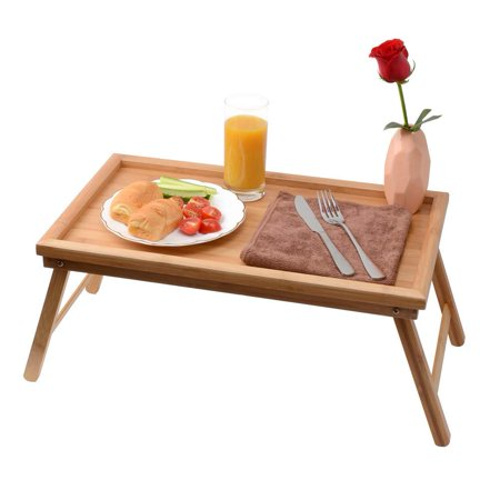 UBesGoo Foldable Breakfast Tray| Large Organic Bamboo Folding Serving Tray, Laptop Desk, Bed Table, Lap Desk| 100% Natural and Eco-Friendly Tray](Breakfast Bed Tray)