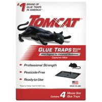 Tomcat Glue Traps Mouse Size with Eugenol for Enhanced Stickiness, 4 Pack