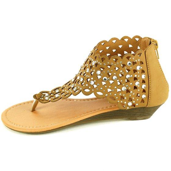 b654446ea Luo Luo - Womens Gladiator Sandals Wedge Heel Thongs Dressy Ankle ...