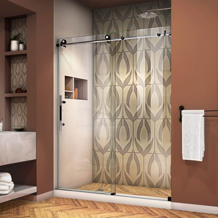 Frameless Bath Shower Doors (DreamLine Enigma-XT 56-60 in. W x 76 in. H Fully Frameless Sliding Shower Door in Tuxedo)