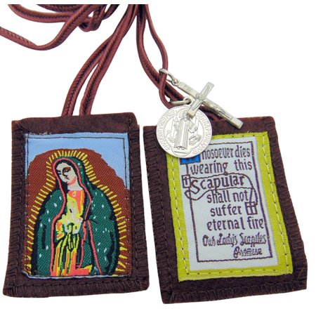 Our Lady of Guadalupe Brown Scapular with Medals, 100% Satisfaction Guaranteed ! By JMJ Products LLC