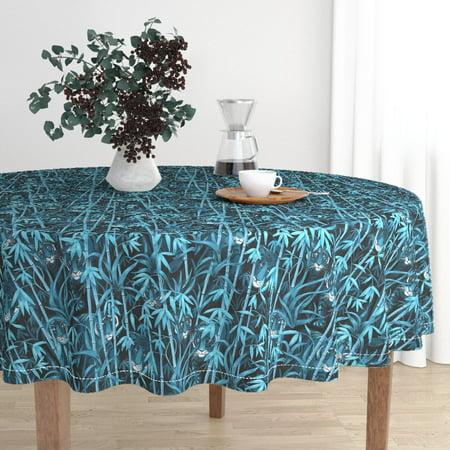 Round Tablecloth Tiger Tropical Bamboo Jungle Aqua Black Cotton Sateen Tropical Black Bamboo