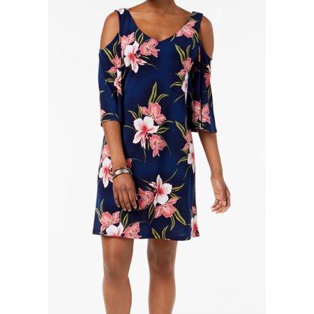 Connected Apparel Floral Print Cold-Shoulder Shift Dress