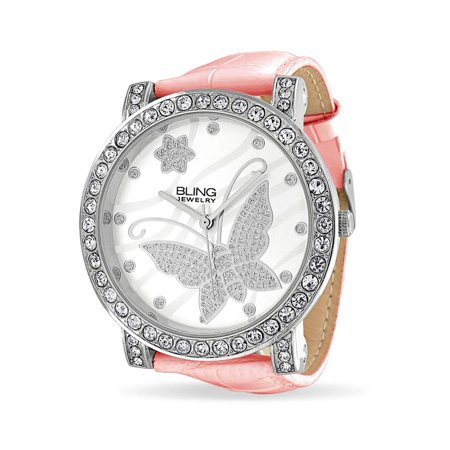 Fashion Round White Dial Cubic Zirconia CZ Pave Bezel Large Butterfly Watch For Women For Teen Pink Faux Leather (Band Bezel Wrist Watch)