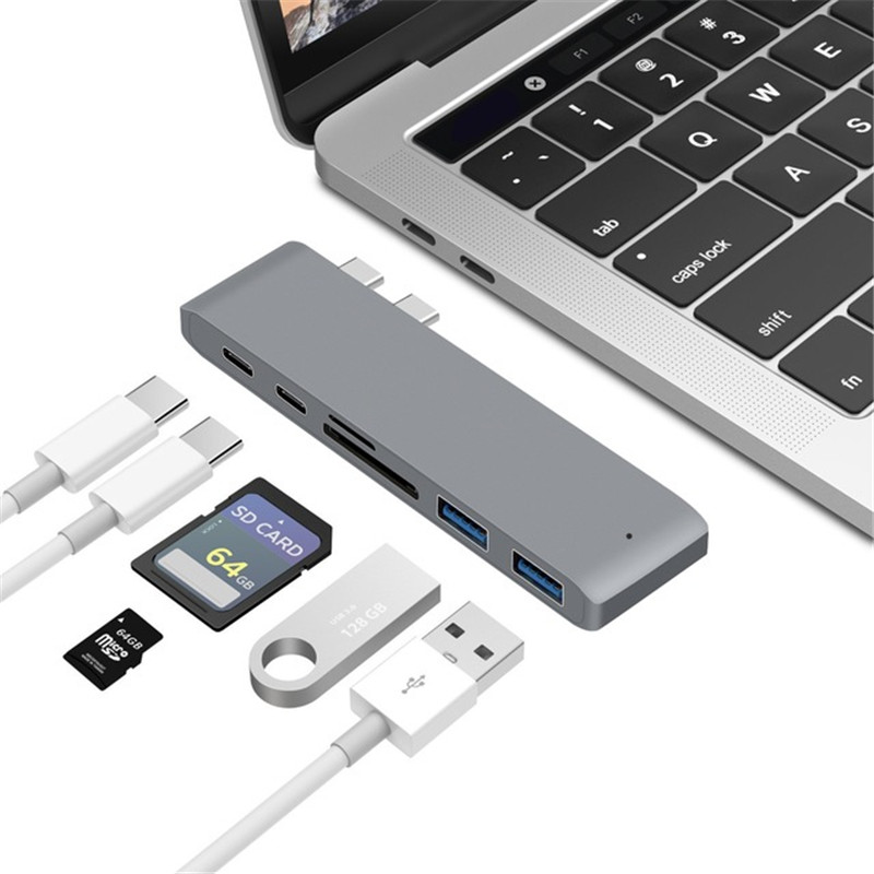 Type C Hub,6 in 1 Aluminum USB C Adapter for 2016/2017 MacBook Pro 13in and 15in with 2 USB 3.0 Ports, SD/Micro SD Card Reader, Thunderbolt 3 Fast 40GB/S Type C Charger Port and USB C Port