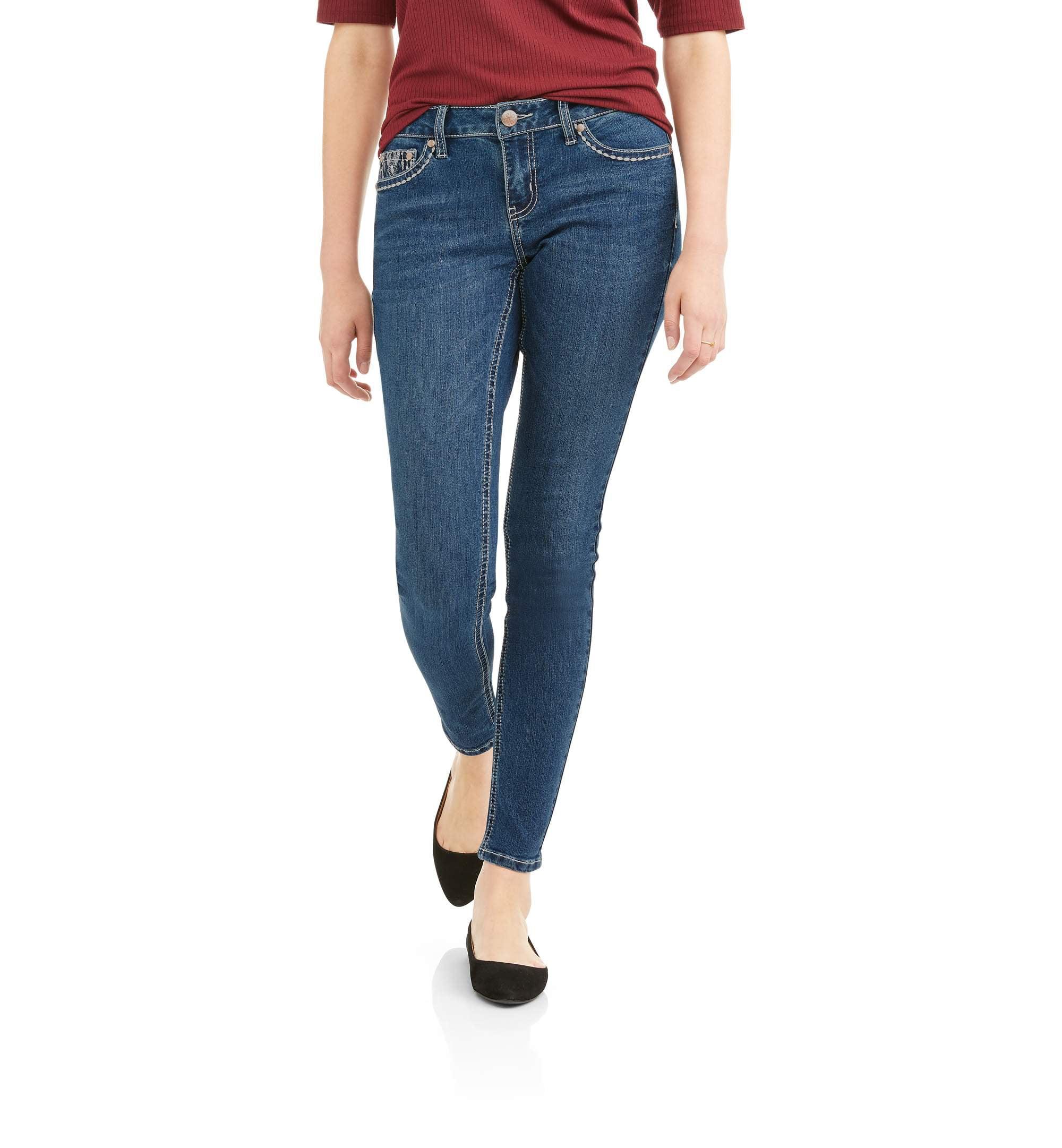 Zanadi Women's Skinny Jeans with Back Pocket Bling Detail
