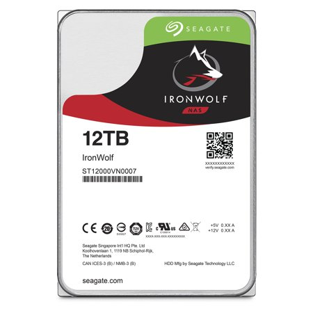 Seagate IronWolf 12TB NAS Internal Hard Drive HDD – 3.5 Inch SATA 6Gb/s 7200 RPM 256MB Cache for RAID Network Attached Storage