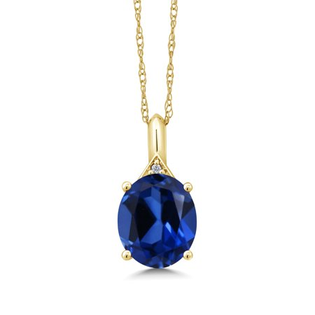 6.15 Ct Oval Blue Simulated Sapphire White Diamond 14K Yellow Gold Pendant ()