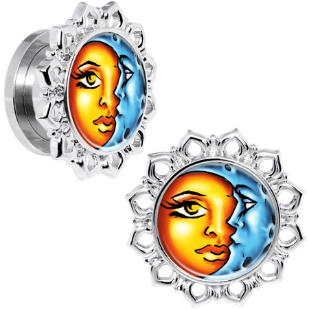 Body Candy Steel Orange Blue Celestial Sun and Moon Flower Frame Screw Fit Plug Set of 2 - Orange And Blue Candy