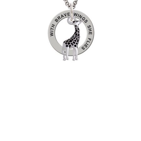 Silvertone Antiqued Giraffe Brave Wings Affirmation Ring Necklace