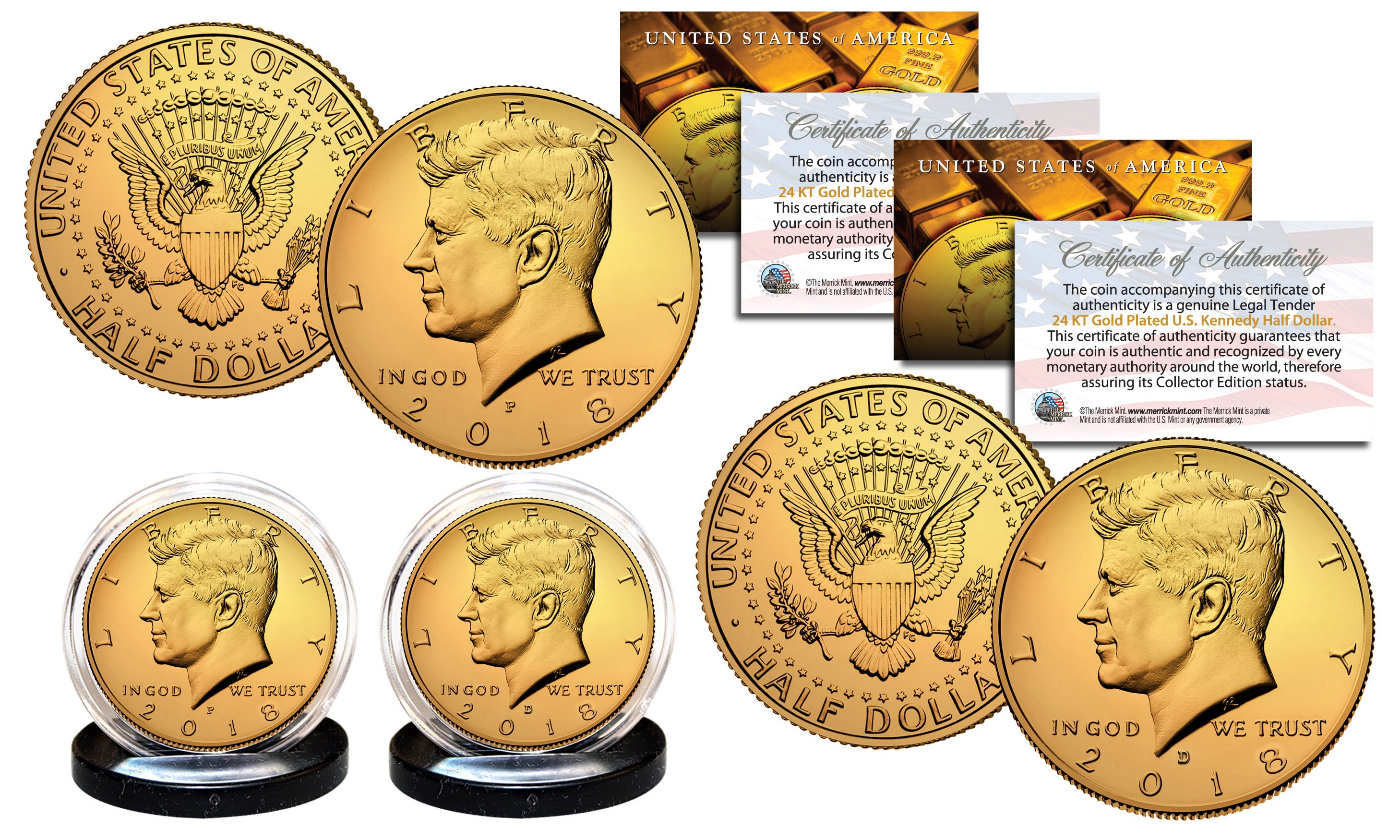 John F Kennedy 24K GOLD 2-Coin US duo Set with black velvet jewelry gift box