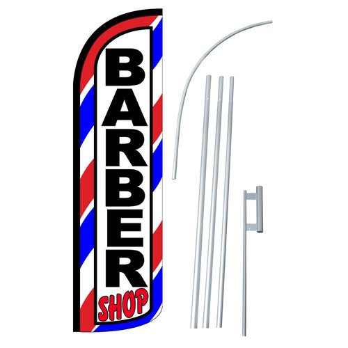 Neoplex Barber Shop Swooper Flag and Flagpole Set