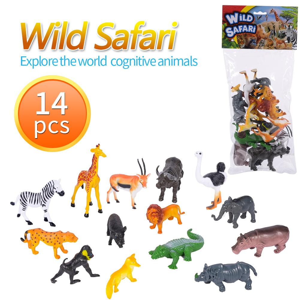 14pcs Wild Animal World Model Figure Educational Kid Toy Set Gift Home Décor