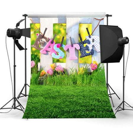 3x5FT Nature Grassland Backdrop Green Lawn Easter theme Background Photography Backdrop Studio Photo Screen - Easter Photography Backdrops