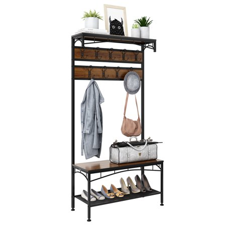 3-In-1 Entryway Coat Rack, Rackaphile Vintage Metal And Wood Hall Tree With Storage Bench Shoe Rack Entryway Storage Shelf Organizer With 18 Hooks Back Hall Tree Benches
