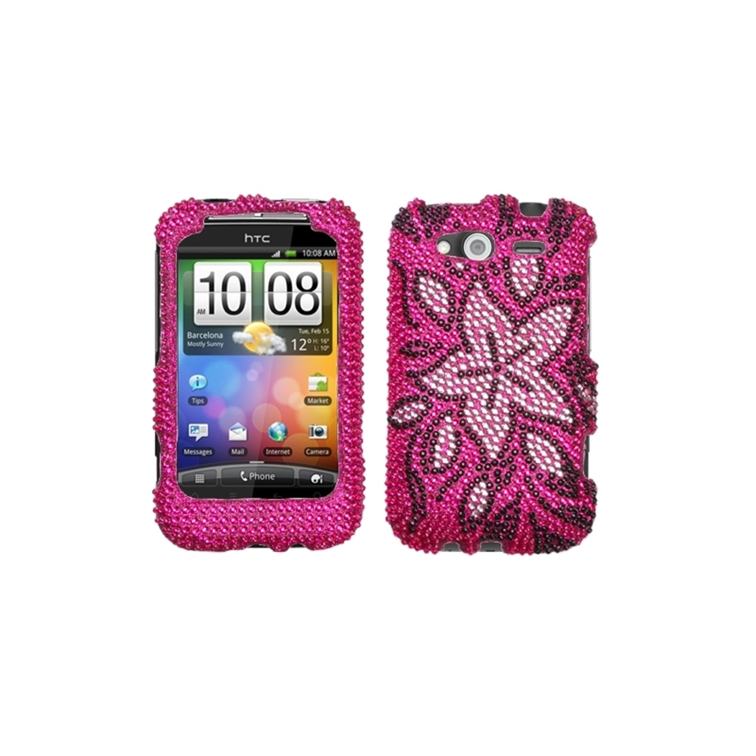 Insten Tasteful Flowers Diamante Case for HTC: Wildfire S (GSM), Wildfire S (CDMA)