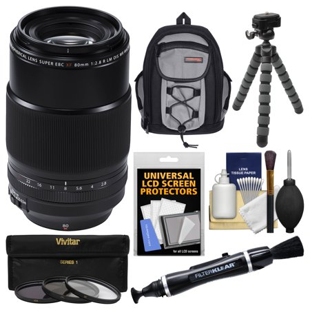 Fujifilm 80mm f/2.8 XF R LM OIS WR Macro Lens with Backpack + 3 Filters + Tripod + (Xf18 55mmf2 8 4 R Lm Ois)