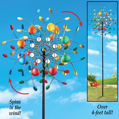Whimsical Spinning Confetti Kinetic Colorful Vibrant Metal Spring Wind Spinner Garden Yard Stake Decoration Windspinner - Rainbow Wind Spinners