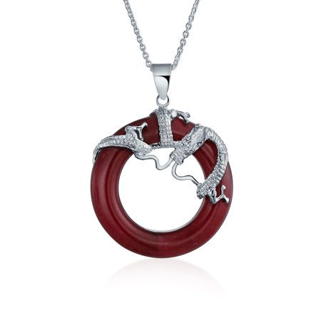 Asian Style Round Open Circle Disc Dyed Red Jade Dragon Pendant Necklace For Women 925 Sterling Silver Red Jade Pendant