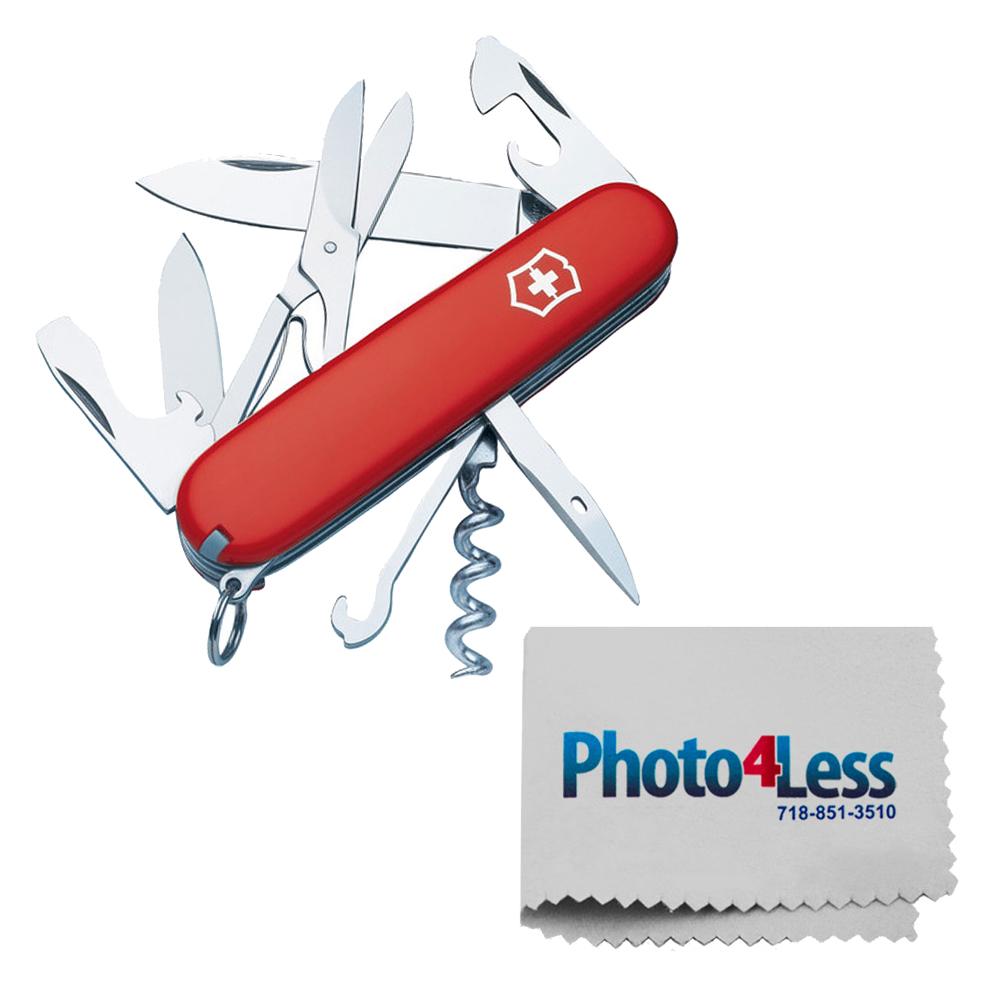 Victorinox Original Swiss Army Climber Pocket Knife (Red) + Photo4less Cleaning Cloth