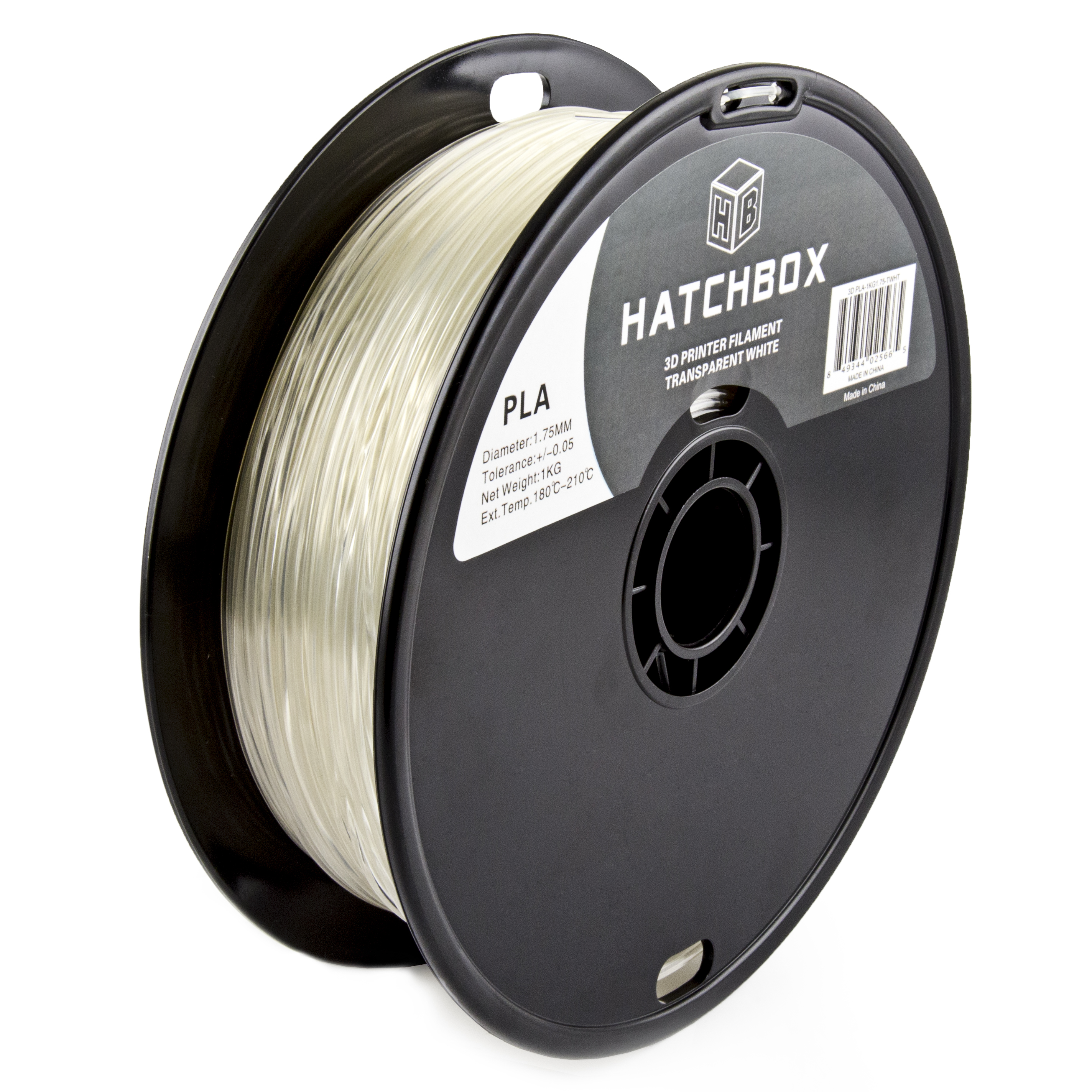HATCHBOX 3D PLA-1KG1.75-TWHT PLA 3D Printer Filament, Dimensional Accuracy +/- 0.05 mm, 1 kg Spool, 1.75 mm, Transparent White