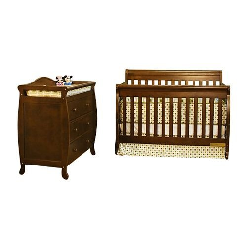 3358 Grace 3-Drawer Changer and Alice 3-in-1 Crib with Toddler Rail Set