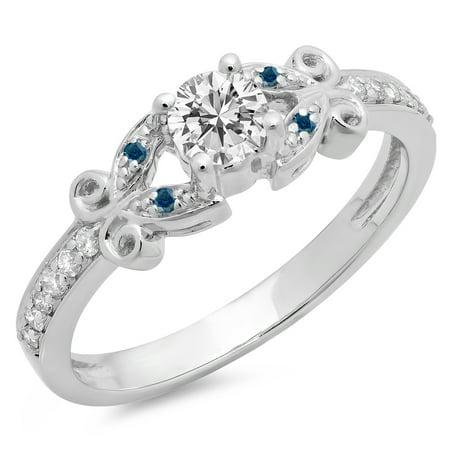 Dazzlingrock Collection 0.50 Carat (Ctw) 14K Blue & White Diamond Bridal Engagement Ring 1/2 CT, White Gold, Size 8.5