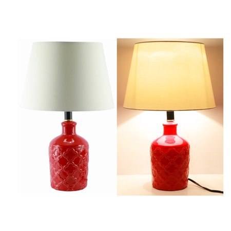 19 red ceramic vase table lamp bedroom lamp for Bedroom lamps walmart