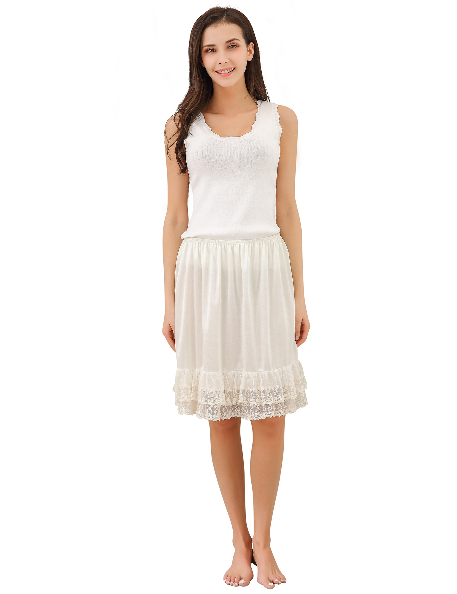 Richie House Women's Light Skirt with Lace RHW2810