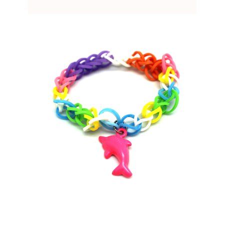 Pink Dolphin Charm With Rainbow Loom Rubber Band Bracelet](Rubber Band Charms Halloween)