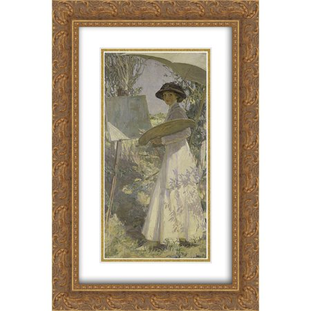 John Lavery 2x Matted 16x24 Gold Ornate Framed Art Print Mrs Lavery