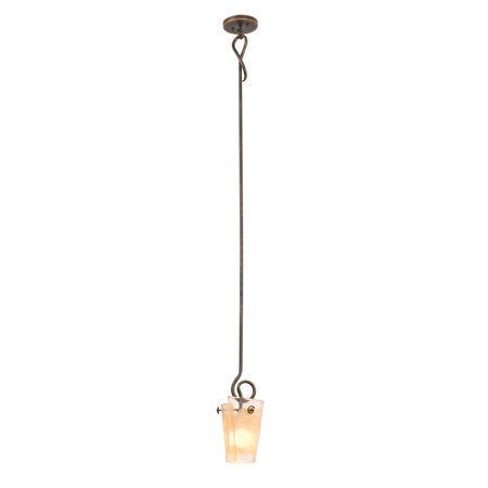 - Mini Pendants 1 Light Bulb Fixture With French Cream Finish Hand Forged Iron and Glass E26 7