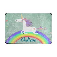 POPCreation Outside Shoe Mat Non-slip Doormat for Front Door 23.6x15.7 inches Unicorn Outdoor Mats Entrance Rugs Door Mat