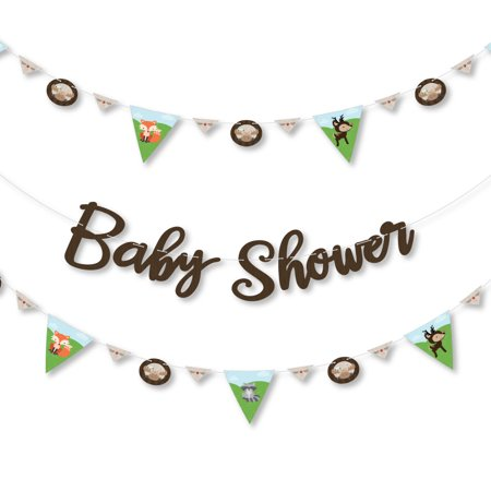 Woodland Creatures - Baby Shower Letter Banner Decoration - 36 Banner Cutouts and Baby Shower Banner Letters - Green And Brown Baby Shower Decorations