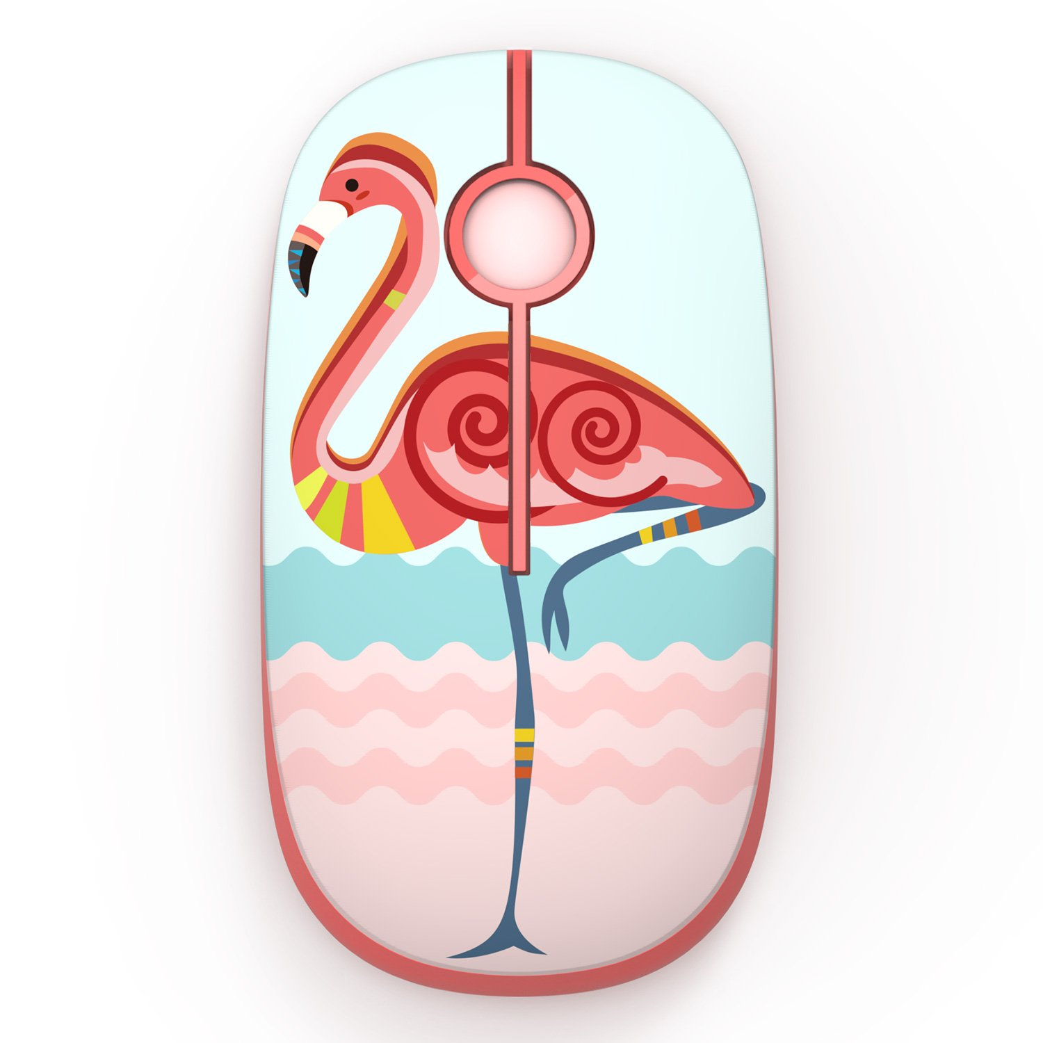 2.4G Slim Wireless Mouse with Nano Receiver,Less Noise,Jelly Comb Portable Mobile Optical Mice for Notebook, PC, Laptop, Computer, MS001 (Flamingo)