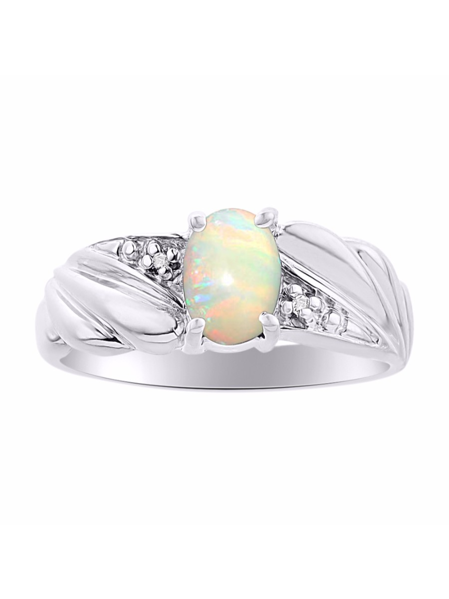 Diamond & Opal Ring Set In Sterling Silver Color Stone Birthstone DSL-LR6525OPW by Rylos