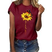 Summer Short Sleeve T Shirt for Women Casual Sunflower Print Top Ladies Bohemian Beach Tee Shirt Blouse S-3XL