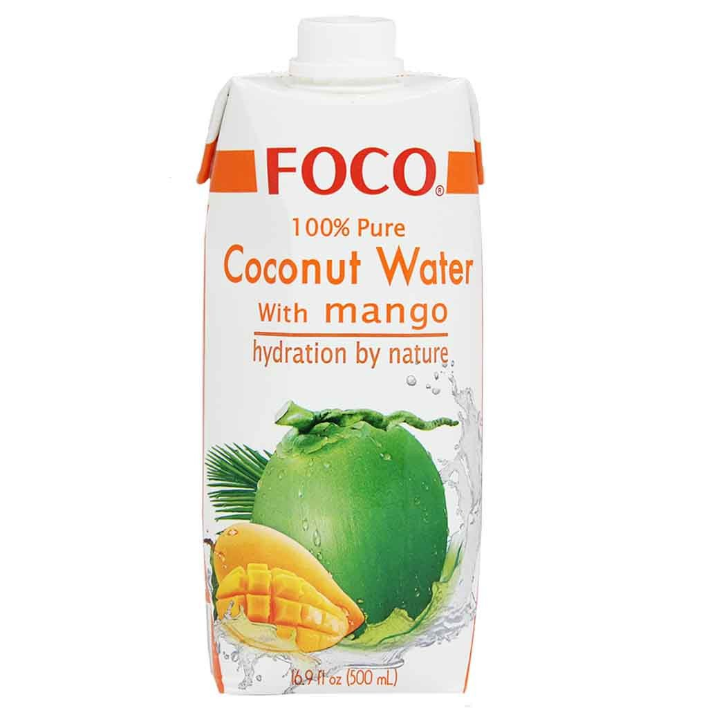 Foco 100% Pure Coconut Water, Mango, 16.9 Fl Oz, 1 Count
