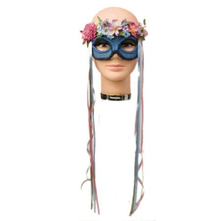 Child Blue Hippie Flower Venetian Carnival Eye - Carnival Kids