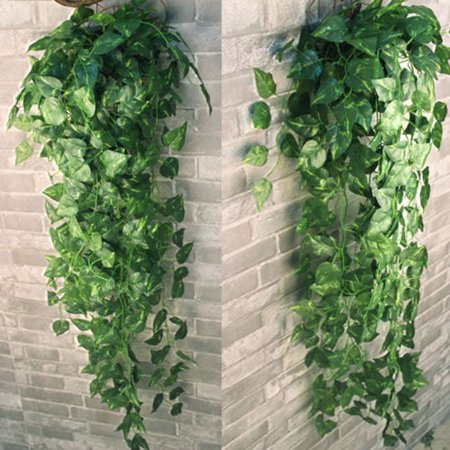 2 Bunch 4ft Artificial Ivy Leaf Garland Plants Vine Hanging Wedding Garland Fake Foliage Flowers Home Kitchen Garden Office Wall Decor (Ivy Block)