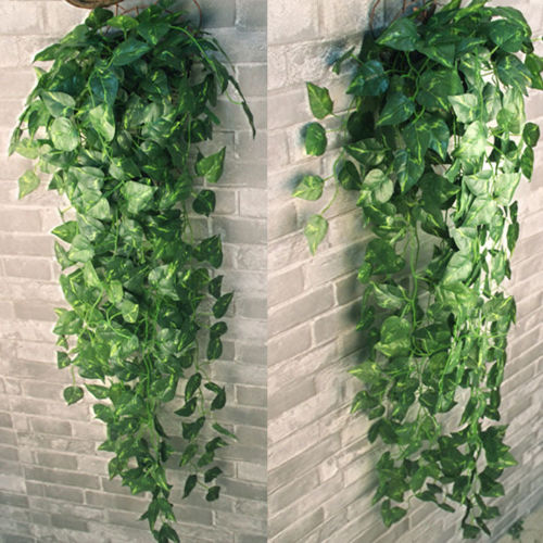 2 Bunch 4ft Artificial Ivy Leaf Garland Plants Vine Hanging Wedding Garland Fake Foliage Flowers Home Kitchen Garden Office Wall Decor